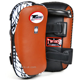Twins Brown Curved Leather Thai Kick Pads