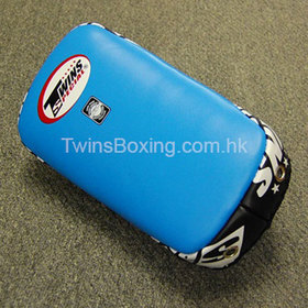 Twins Sky Blue Curved Leather Thai Kick Pads