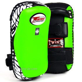 Twins Green Curved Leather Thai Kick Pads