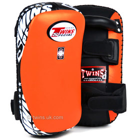 Twins Orange Curved Leather Thai Kick Pads