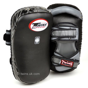 Twins Black-Grey Deluxe Curved Leather Kick Pads