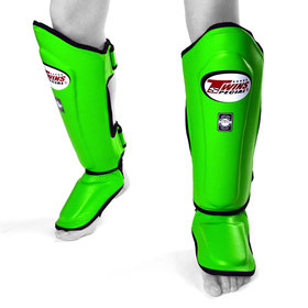 Twins Shin Guards / Double Padded / Green