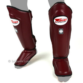 Twins Double Padded Shin Pads Maroon