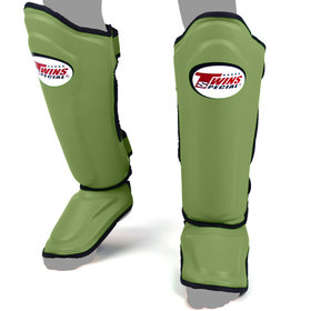 Twins Double Padded Shin Pads Olive Green