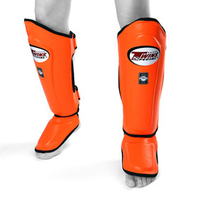Twins Shin Guards / Double Padded / Orange
