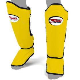 Twins Double Padded Shin Pads Yellow