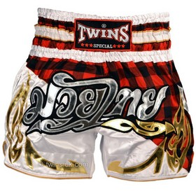Twins Satin Muay Thai Shorts Red Tartan