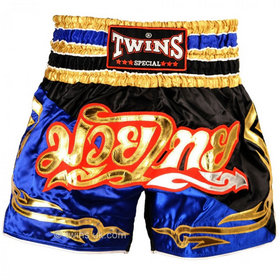 Twins Satin Muay Thai Shorts Black Blue & Gold