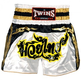 Twins Satin Muay Thai Shorts White Black & Yellow