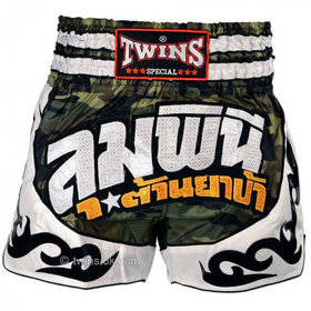 Twins Satin Muay Thai Shorts Green Camo