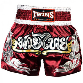 Twins Satin Muay Thai Shorts Burgundy