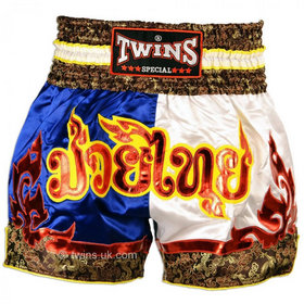 Twins Satin Muay Thai Shorts Blue White & Red