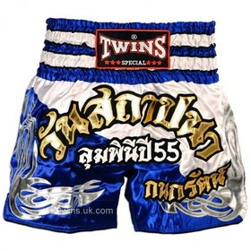 Twins Satin Muay Thai Shorts Blue & White
