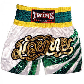 Twins Stripes Satin Muay Thai Shorts White & Green
