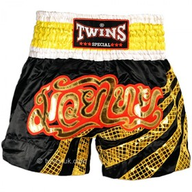 Twins Stripes Satin Muay Thai Shorts Black & Gold