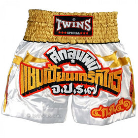 Twins Satin Muay Thai Shorts White Gold & Red