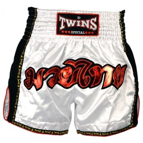 Twins Muay Thai Shorts / Retro / White