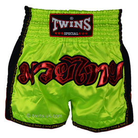 Twins Muay Thai Shorts / Retro / Lime Green
