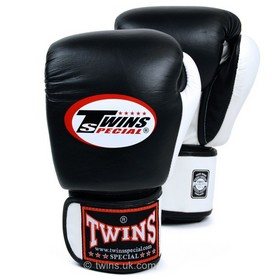 Twins Two Tone Velcro Boxing Gloves Black & White