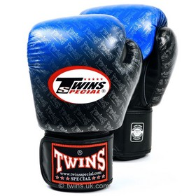 Twins Colour Fade Blue & Black Velcro Boxing Gloves