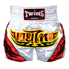 Twins Satin Muay Thai Shorts White Red & Yellow