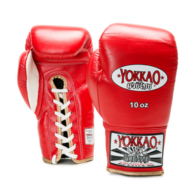 Yokkao Red Lace-Up Boxing Gloves