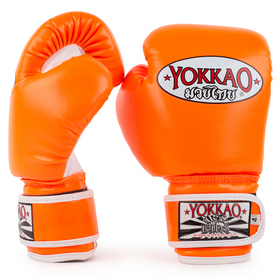 Yokkao Kids Synthetic Velcro Boxing Gloves Neon Orange