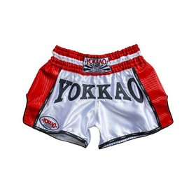 Yokkao Carbon Muay Thai Shorts White & Red Hurricane