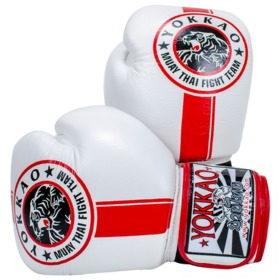 Yokkao Fight Team White & Red Velcro Boxing Gloves