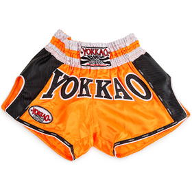 Yokkao Satin Muay Thai Shorts Buakaw Orange Carbon