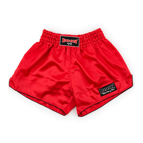 Boon Sport Satin Retro Muay Thai Shorts Red