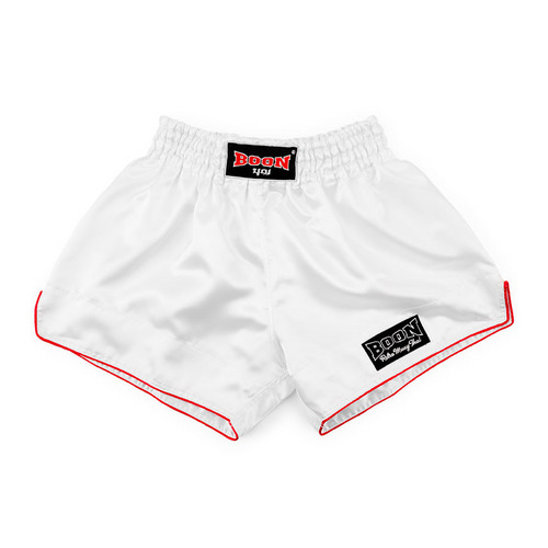 Boon Sport Satin Retro Muay Thai Shorts White