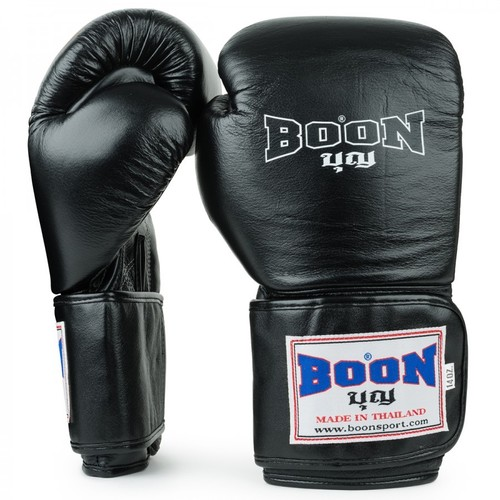 Boon Black Leather Velcro Boxing Gloves