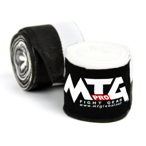 MTG Pro 5m Elasticated Hand Wraps Black & White