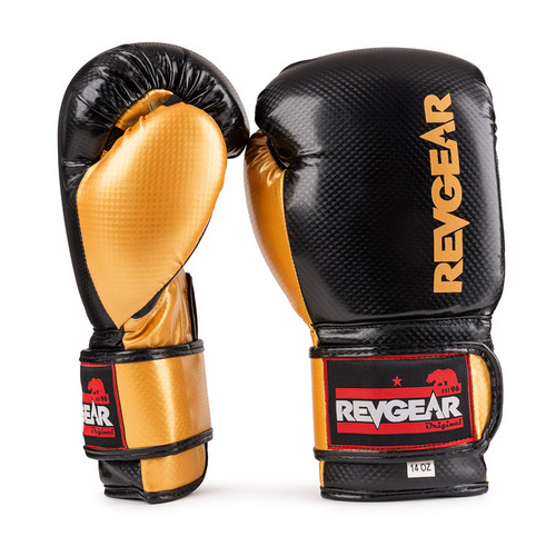 Revgear Pinnacle Velcro Boxing Gloves Black & Gold