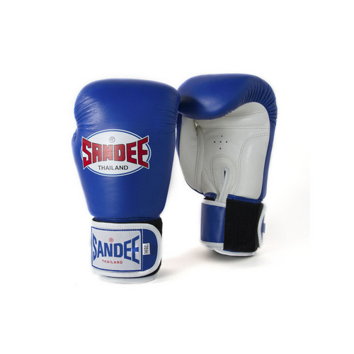 Sandee Authentic Velcro Blue & White Leather Boxing Gloves