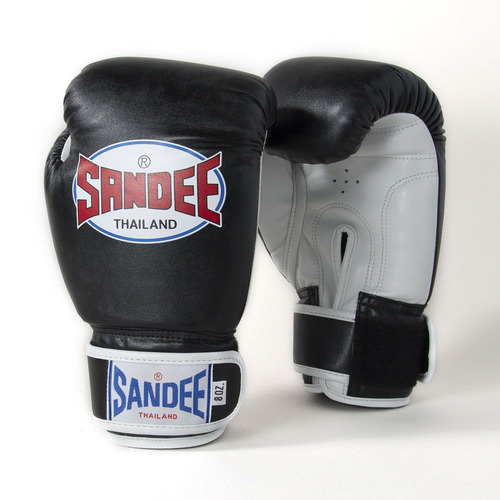 Sandee Kids Velcro Synthetic Boxing Gloves Black & White