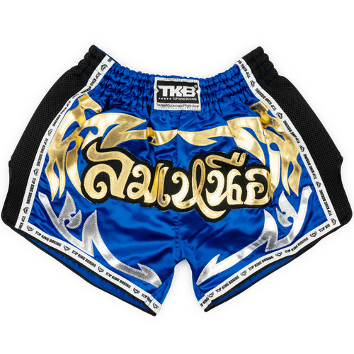 Top King Retro Muay Thai Shorts Blue & Black
