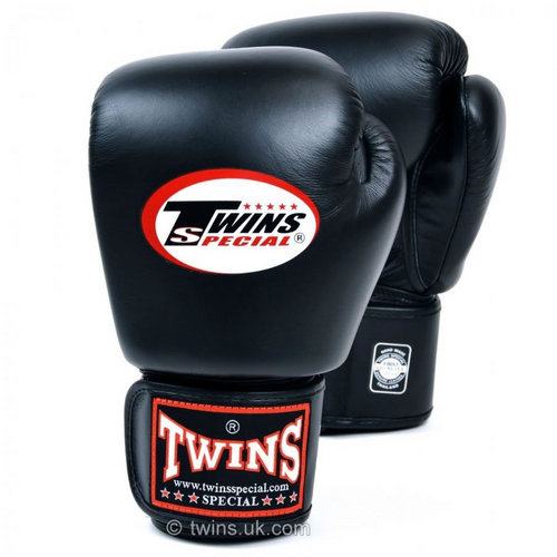 Twins Pro Velcro Boxing Gloves Black
