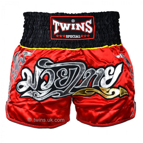 Twins Satin Muay Thai Shorts Red & Black