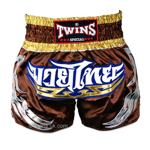 Twins Satin Muay Thai Shorts Brown