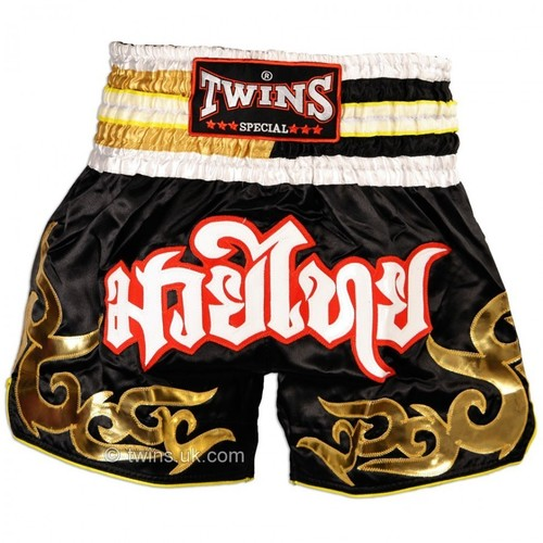 Twins Satin Muay Thai Shorts Black & Gold