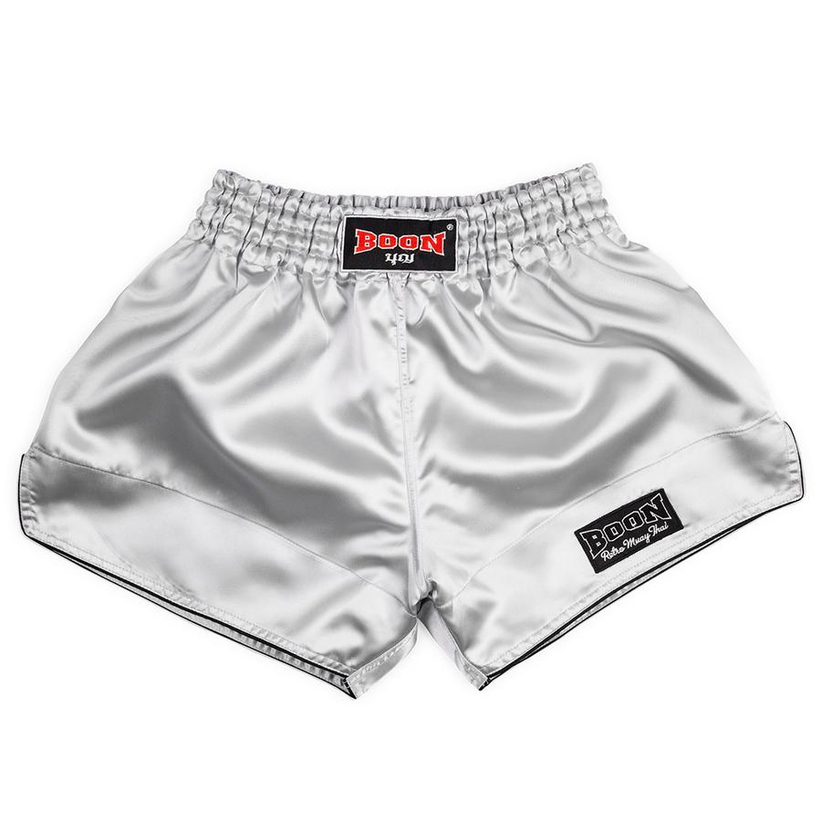 Boon Sport Muay Thai Shorts Satin Retro White