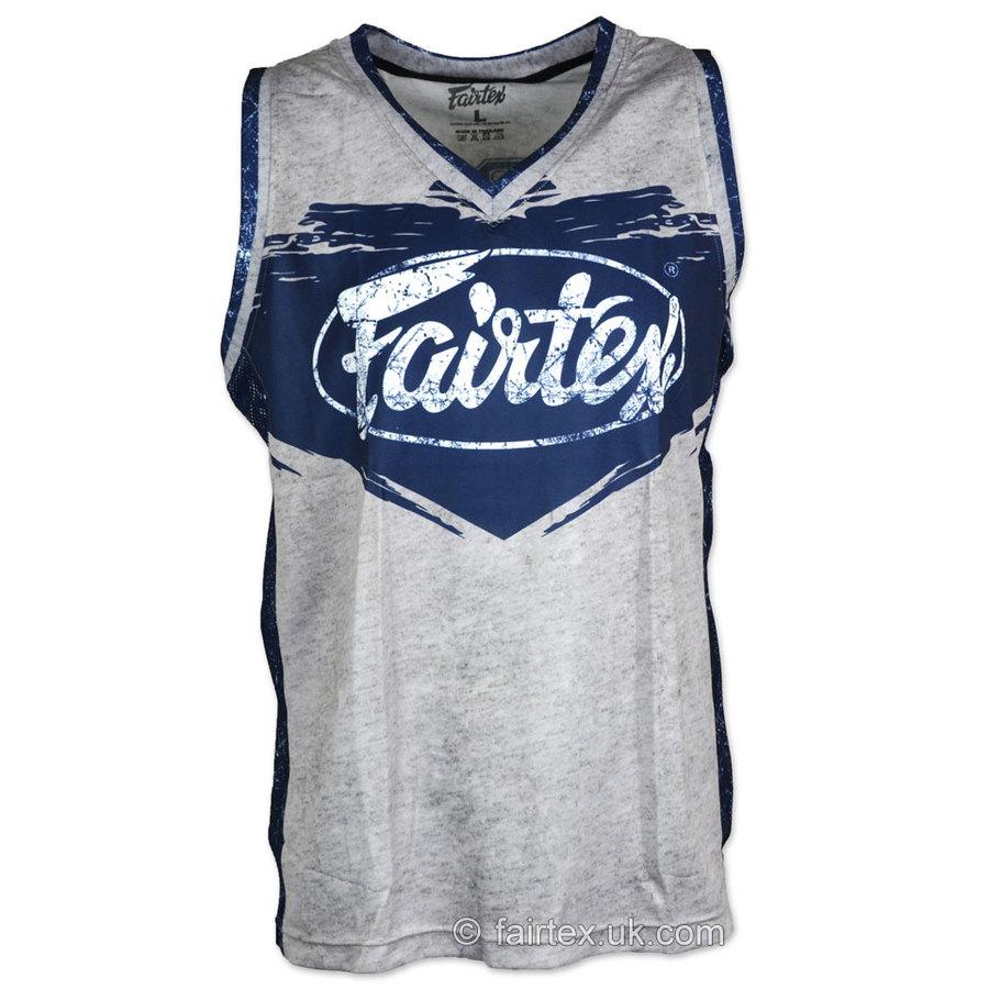 Muay Thai Boxing JS9 Fairtex Basketball Jersey Grey-Blue Vest