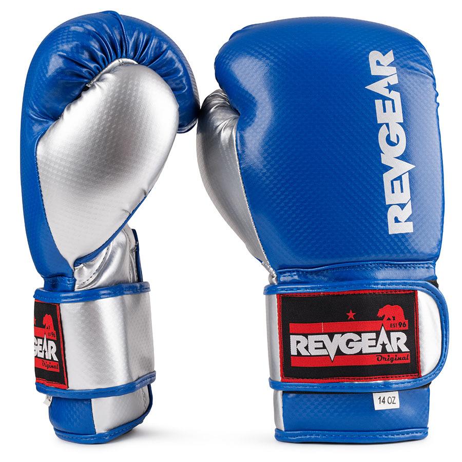Revgear Pinnacle Velcro Boxing Gloves Blue & Silver