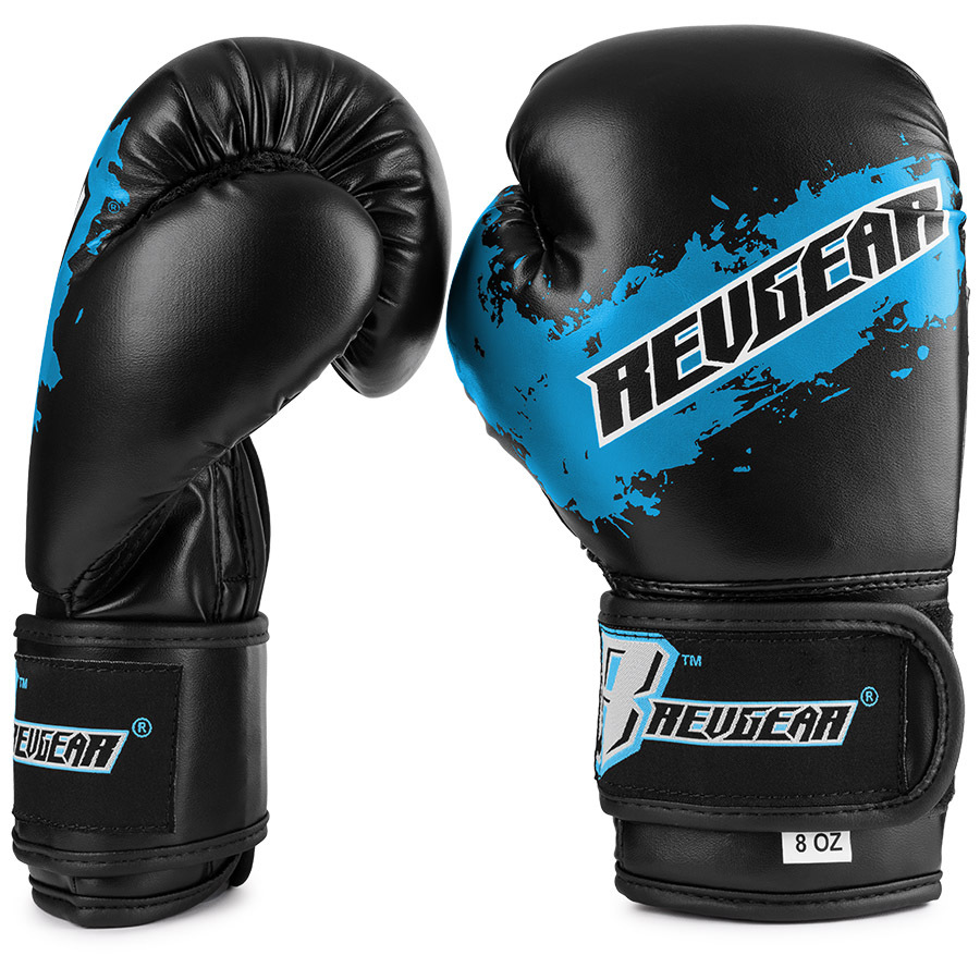 Deluxe Weight Lifting Gloves St12007: Revgear Kids Deluxe Velcro Boxing Gloves Black & Blue