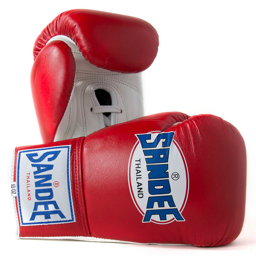 Sandee Red Lace Up Leather Boxing Gloves