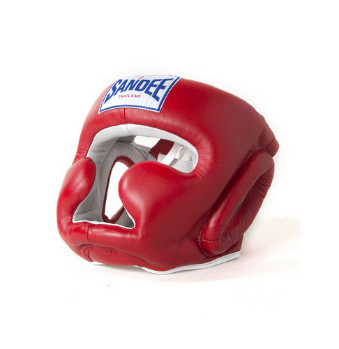 Sandee Closed Face Head Guard Red & White