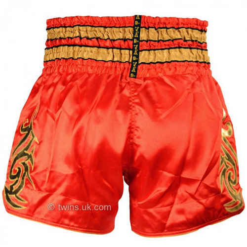 Twins Satin Muay Thai Shorts Red & Gold