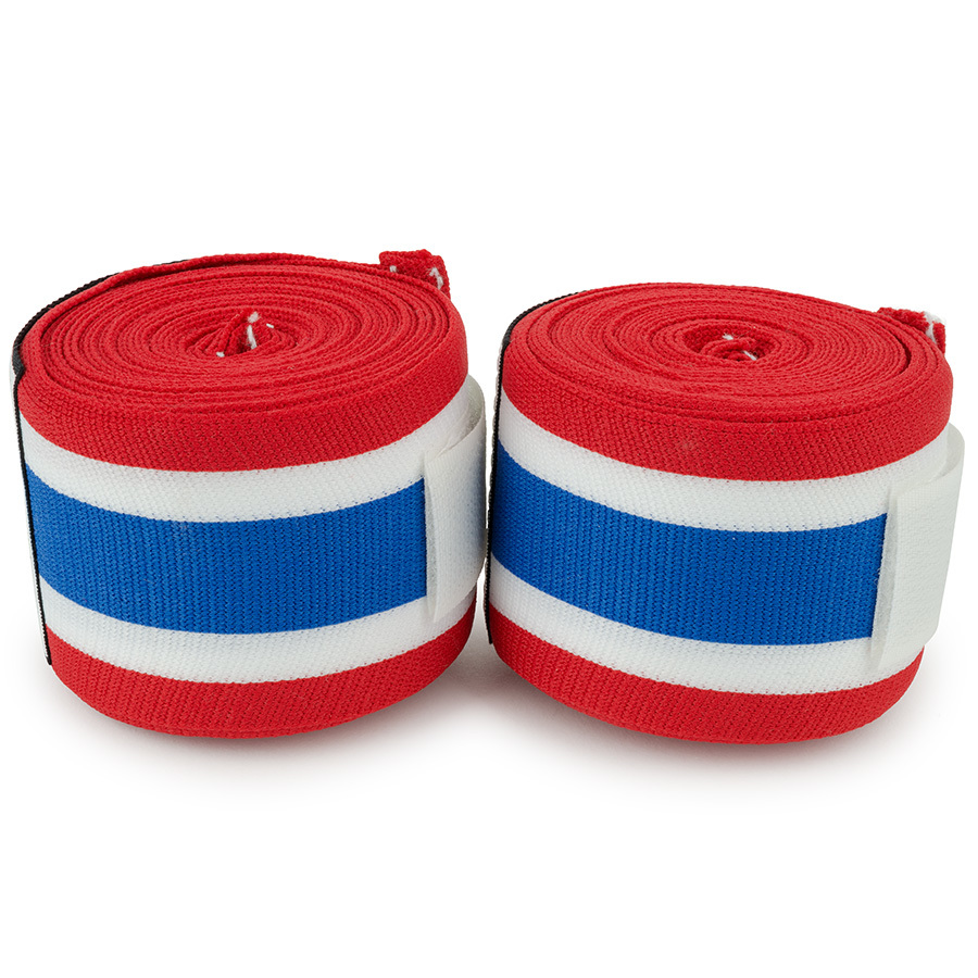 Top King Hand Wraps 4m Elastic Cotton Thai Flag